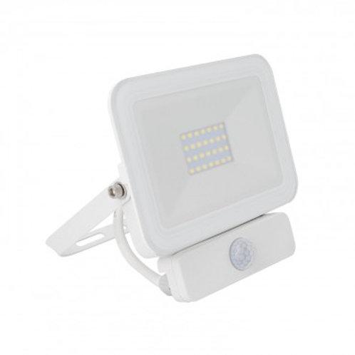 Projecteur LED SMD extérieur cadre blanc, extra-plat, 20W, avec détecteur