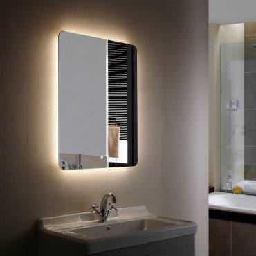 Miroir LED SMD2835 rectangulaire, 45W, température sélectionnable, anti-buée