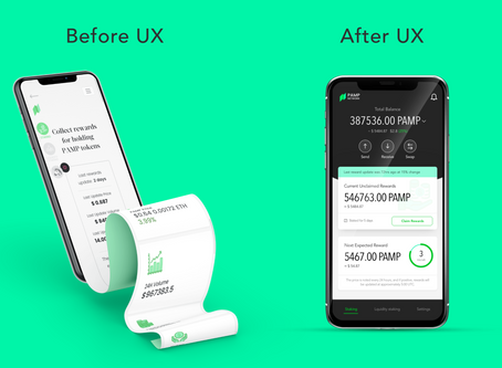 Mobile Experience for PAMP Network - UX/UI design case study of a crypto wallet
