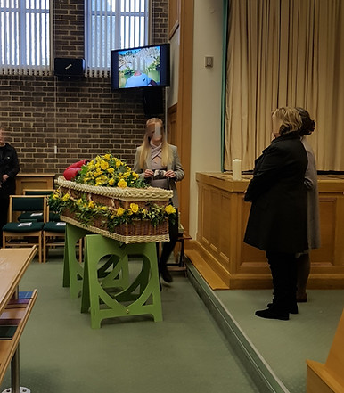 Holly's Funerals crematorium funeral with wicker coffin