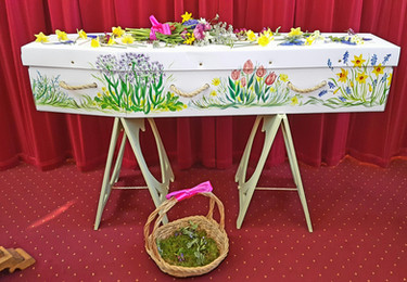 Holly's Funerals, Hand painted Cardboard Coffin