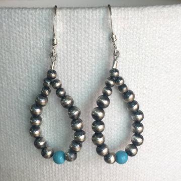 Silver Bead Loop Earrings