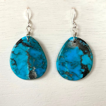 TURQUOISE SLAB EARRINGS (Chavez/round)