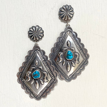 OLD STYLE STAMPED EARRINGS WITH TURQUOISE