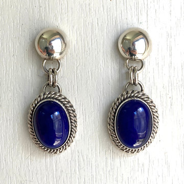 ARTIE YELLOWHORSE BLUE LAPIS EARRINGS