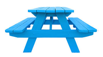 Large Blue Wooden Picnic Table