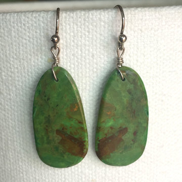 Turquoise Slab Earrings Green 56
