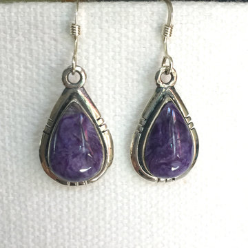 Purple Charoite Teardrop Earrings
