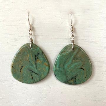 TURQUOISE SLAB EARRINGS (Chavez/green))