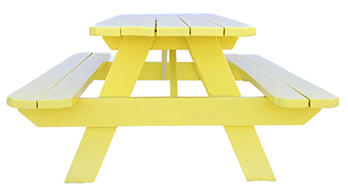 Large Yellow Wooden Picnic Table