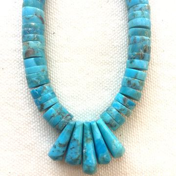 Hand-drilled Turquoise Bead Necklace