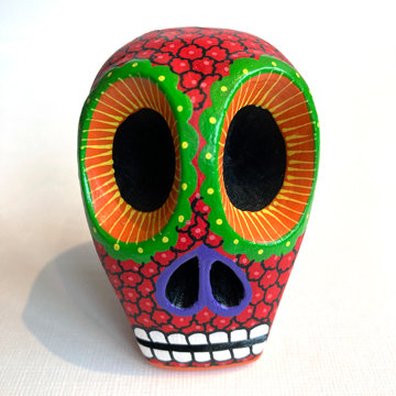 OAXACAN SKULL CARVING (red)