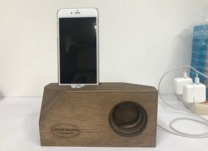 電源要らず。iPhone用木製スピーカー