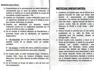 Boletín Nº1 de la Sociedad Italiana de Socorros Mutuos de Olavarría