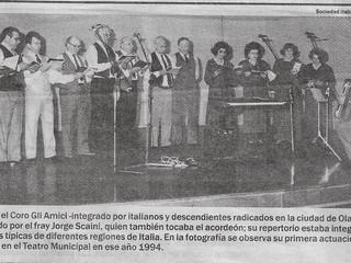 Recuerdo de la primera presentación del Coro Gli Amici de Olavarría