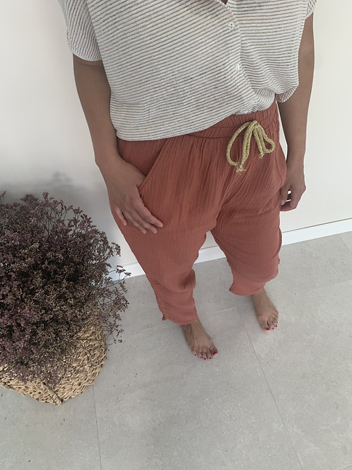 Pantalon Femme double gaze TERRACOTTA