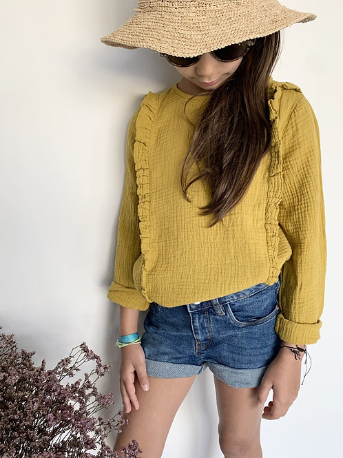 Blouse fille MOUTARDE