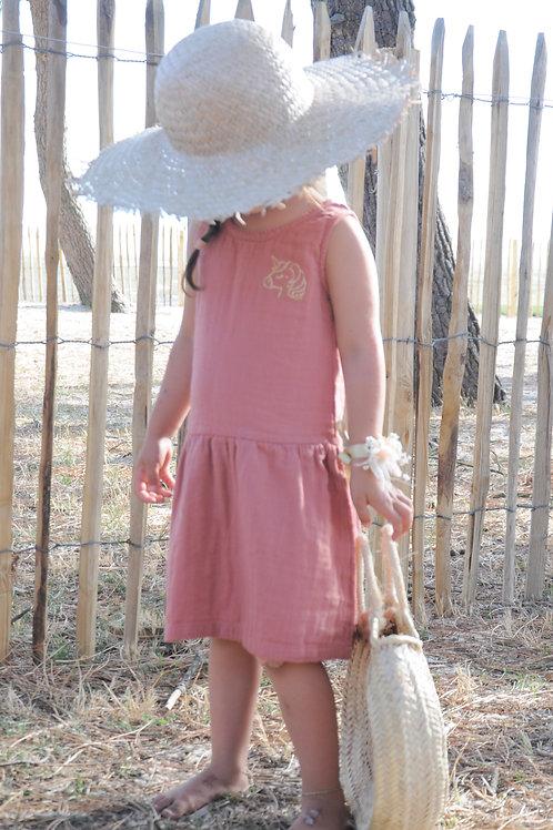 Robe double gaze terracotta petite fille