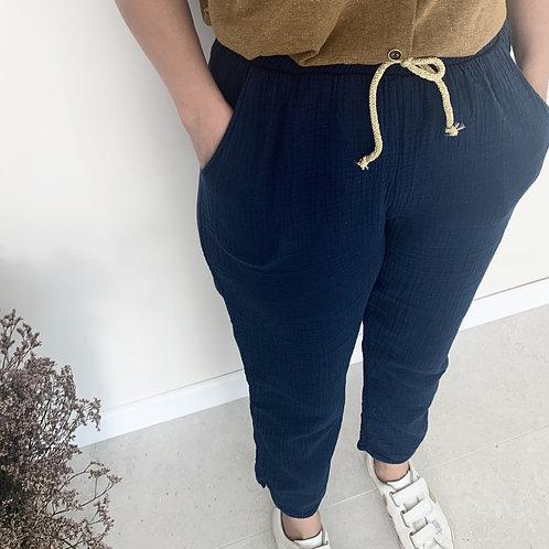 Pantalon Femme double gaze MARINE