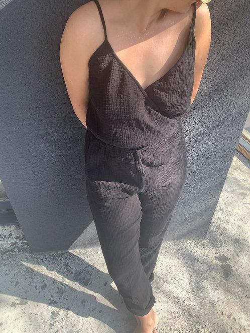 Combi-pantalon Femme double gaze NOIR