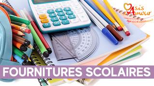 Les fournitures scolaires sont déjà dans vos magasins solidaires OASIS D'AMOUR