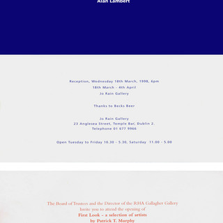 JO RAIN Gallery and RHA Gallery Invites