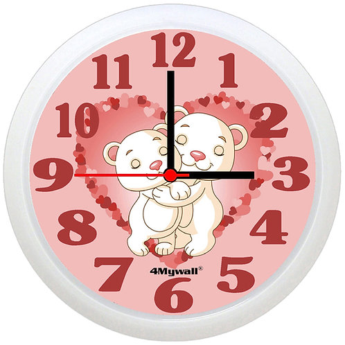 Cuddling Bears wall clock