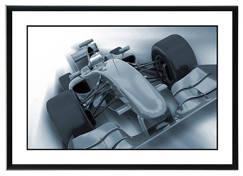 F1 Greyscale Wall Art