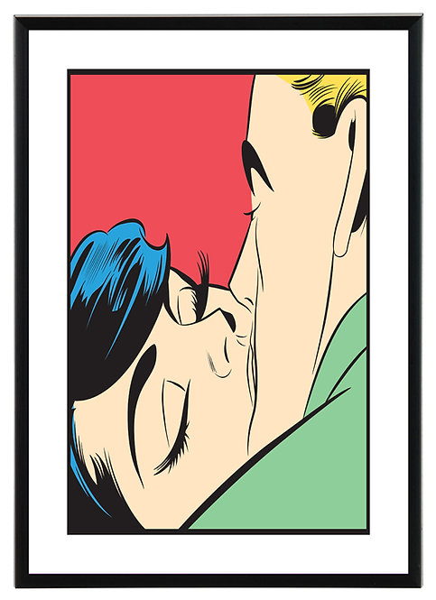 Kissing couple pop art