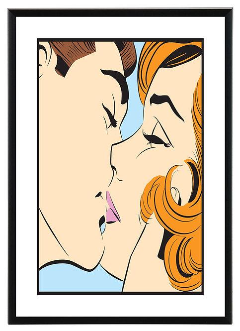 Kissing couple pop art
