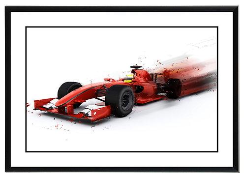 F1 Red Car Wall Art