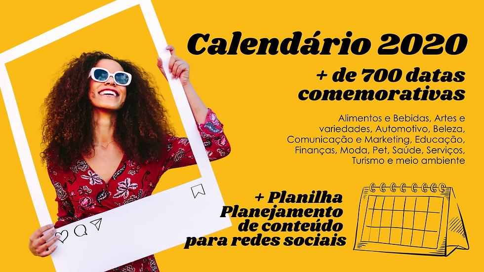 Calendário 2020 Datas Comemorativas
