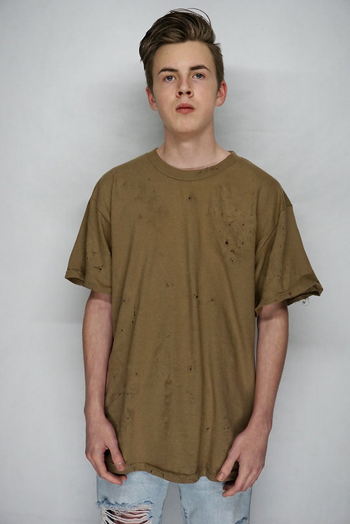 Hand Distressed Desert cotton T-shirt