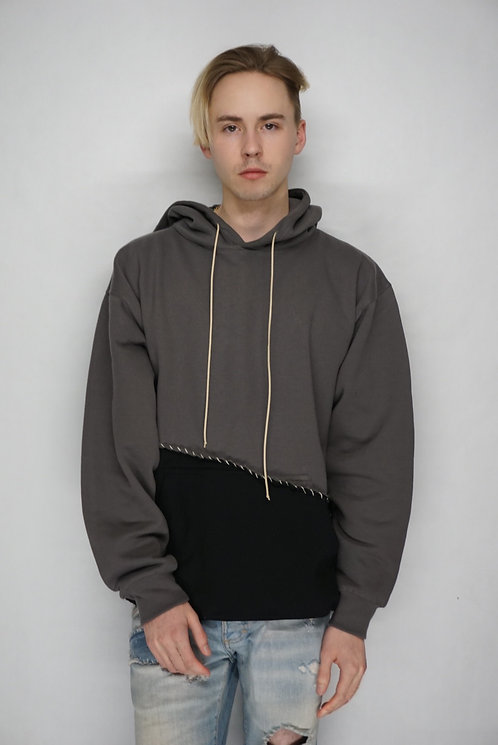 Hand Distressed Grey Cotton Hoodie