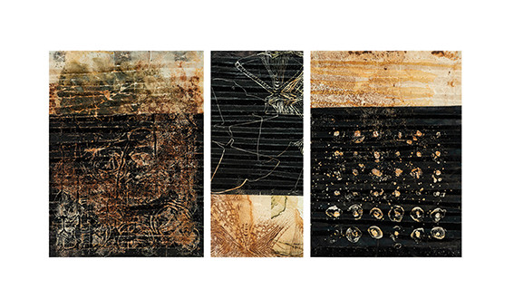 The Tank, 2017, encaustic on 200g canson paper, collograph and linocut, natural dyes, 39x83cm.