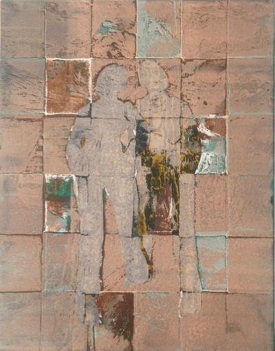 Silent Partner, stencils, relief, 51x39cm