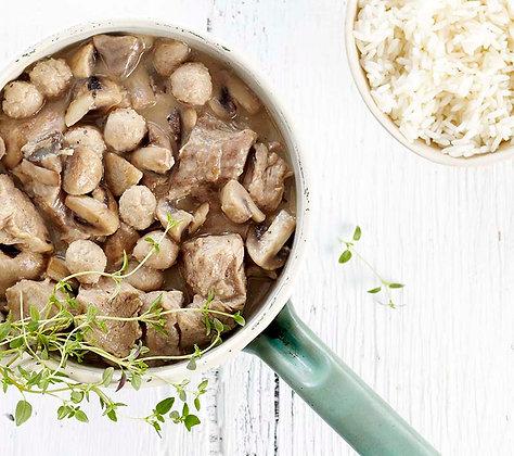 HG: Kalfsblanquette met champignons en kroketten
