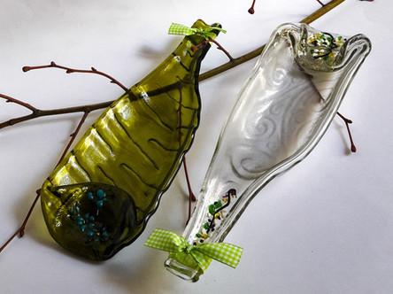 Weinflasche als Dekoration oder Schale verwendbar