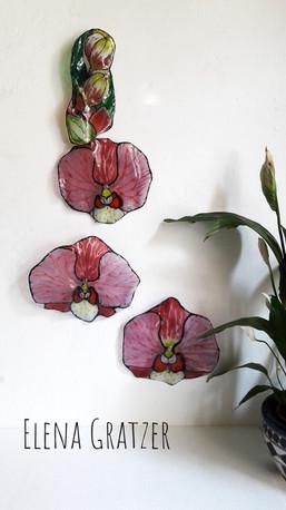 Wanddekoration aus Glas in Blumenform