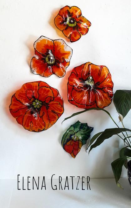 Wanddekoration aus Glas - in Blumenform