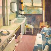 La cuisine. Années 80. Tempéra sur toile. 162x140 cm.