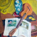 La guitare. Années 50. Technique mixte sur carton. 28 x 28 cm