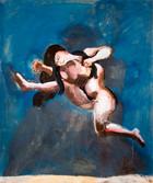 La fuite d'Eve. Années 70. Technique mixte sur kraft. 51 x 46 cm
