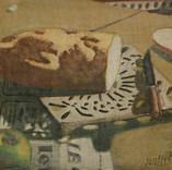 Pomme pain et journal 1985 27 x 41 cm Huile sur Toile marouflé