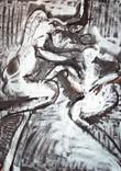 Les amants. Années 60. Huile et bombe argentée sur kraft. 115 x 88 cm