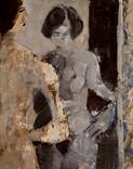 Deux femmes. Années 60. Huile sur kraft. 59 x 47 cm