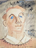 Bengt Lindstrom artiste peintre (1925-2008). 1974. Gouache sur papier. 27x21 cm