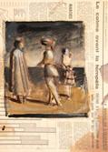 La rencontre. Années 70. Huile sur le journel le monde. Septembre 1972. 18x16 cm. Détail.
