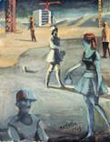 Promenade au chantier. 1973. Tempéra sur papier journal le Monde daté du 05/09/1973. 35,5 x 28 cm