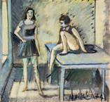 1974. Tempéra sur journal le Monde daté du 24/03/1974. 29,5 x 21 cm